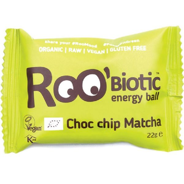 BOLAS RAW CHOCO CHIPS Y MATCHA 22 G ROOBIOTIC