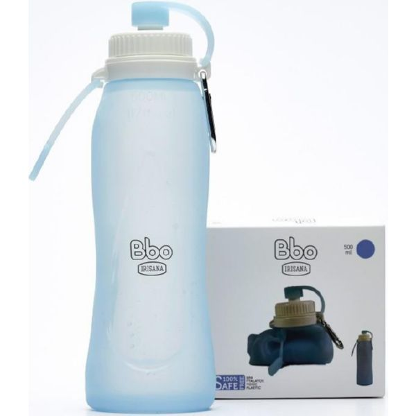 BOTELLA PLEGABLE SILICONA AZUL 500 ML BBO17 IRISANA