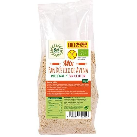 MIX PAN RUSTICO AVENA INTEGRAL ECO 500 G SOLNATURAL